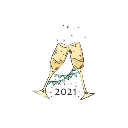 Heppy New Year. Party banner design. 2021 with wineglass champagne in hand drawn style. Vector flat illustration Ilustrace