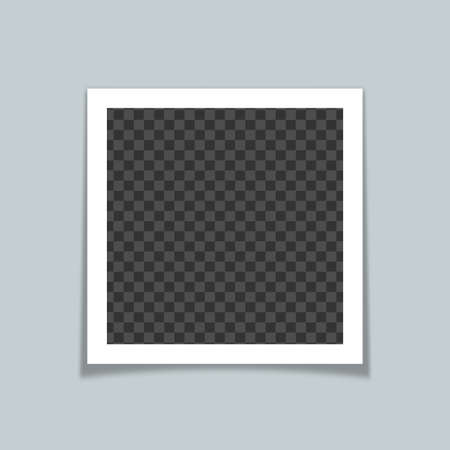 Photo frame vector mock up. Realistic modern art isolated graphic. Çizim