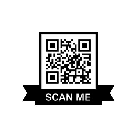 QR code. Frame for scan. Black icon on white backdrop. Vector for app and web design