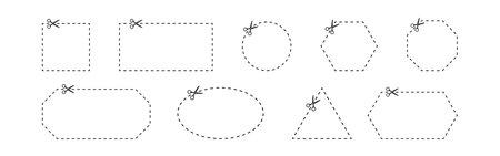 Coupon trim line icons set. Scissors icon. Vector line illustration on white background Çizim