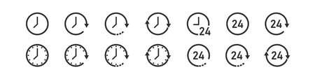 Clock set icons. All time 24 hour and arrow sign symbol. Vector illustration Çizim