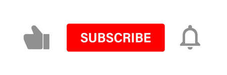 Subscribe button set. Like and notification bell icon. Vector web illustration