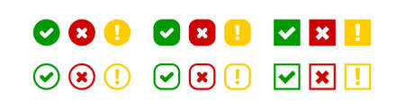 Check cross and exclamation mark big set vector icon. Red green and yellow isolated square and circle, illustration in flat style Çizim