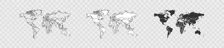 Country world map set on transparent background. Vector isolated web illustration