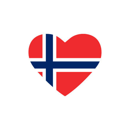 Norway flag in heart. Country of europe. Isolated vector icon in flat style