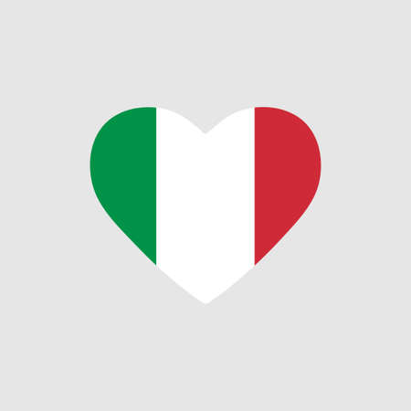 Italy flag in heart. Country of europe. Isolated vector icon in flat style Vector Illustratie