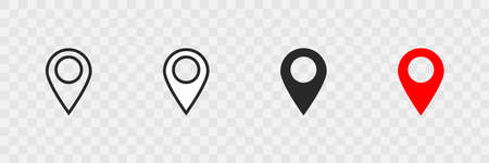Pointer location set icon on transparent background. Isolated vector illustration.