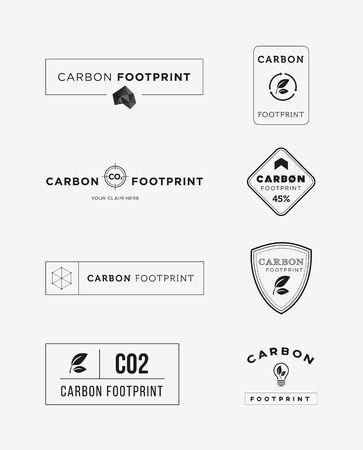 green footprint: Carbon footprint logo set