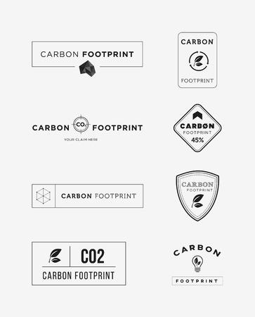 Carbon footprint logo set