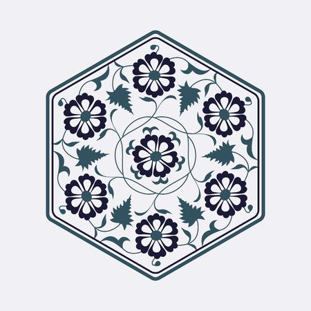 01: 01 Floral pattern blue Illustration