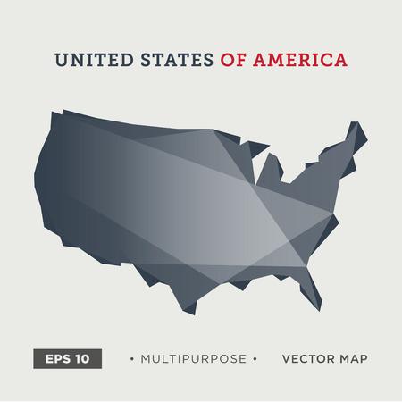 01: 01 United States of America, USA map, modern Illustration