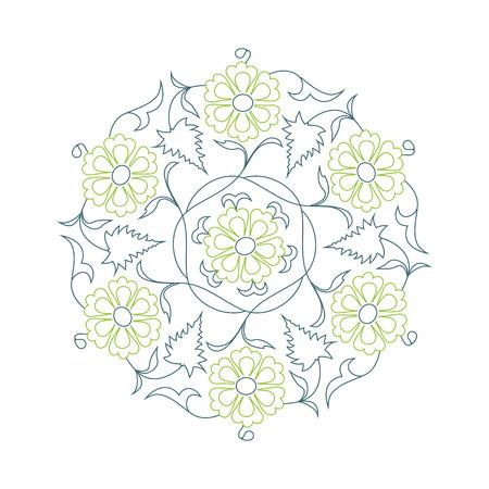 01: 01 Floral pattern line-art, green