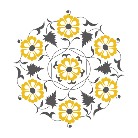 01: 01 Floral pattern, yellow