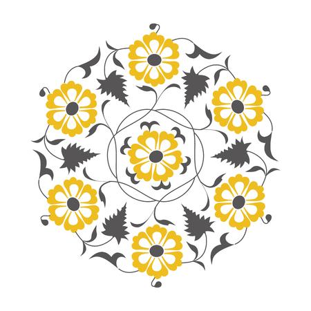 circle design: 01 Floral pattern, yellow