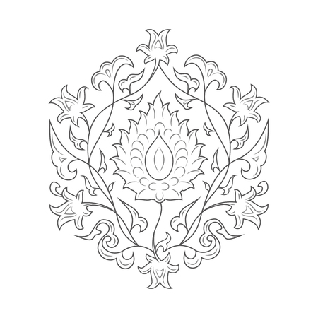 lineart: 03 Floral pattern line-art, black Illustration