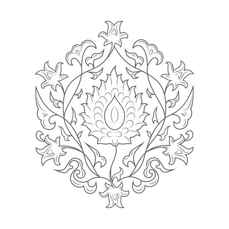 03: 03 Floral pattern line-art, black Illustration
