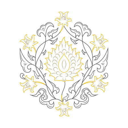 03: 03 Floral pattern line-art, yellow Illustration
