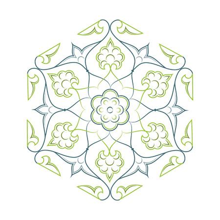 lineart: 02 Floral pattern lineart green