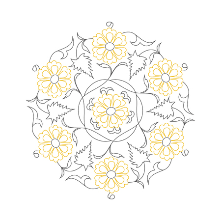 01: 01 Floral pattern line-art, yellow Illustration