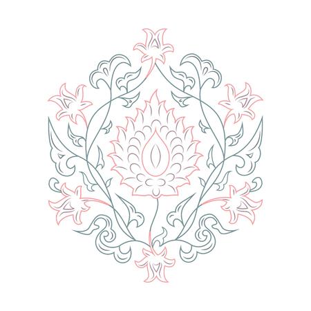 03: 03 Floral pattern line-art, pink