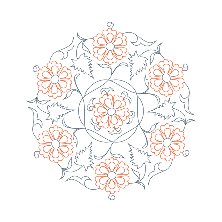lineart: 01 Floral pattern line-art, orange
