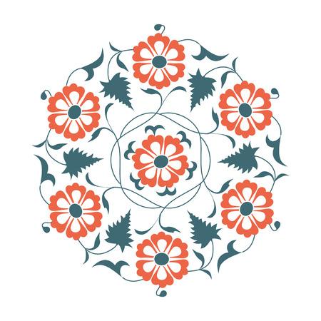 01: 01 Floral pattern, orange