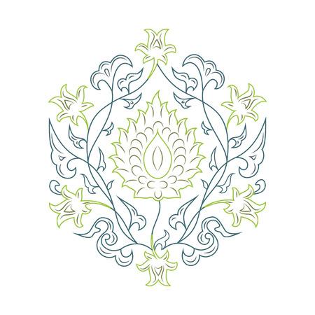 03: 03 Floral pattern lineart green Illustration