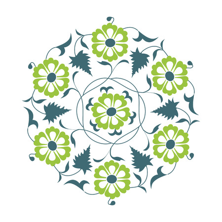 01: 01 Floral pattern, green