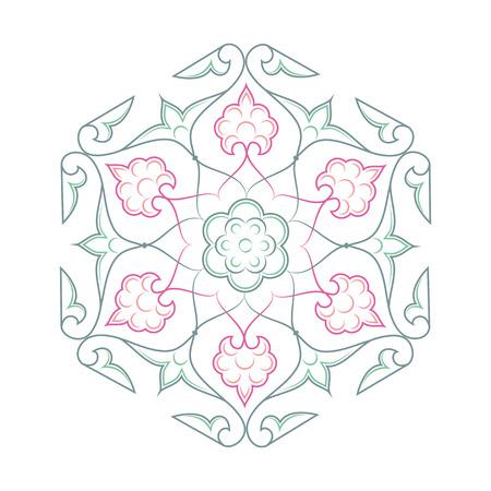 iznik: 02 Floral pattern line-art, pink