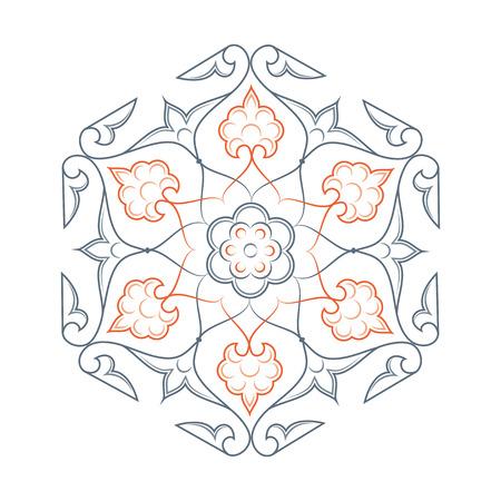 turkish: 02 Floral pattern line-art, orange