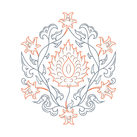 lineart: 03 Floral pattern line-art, orange