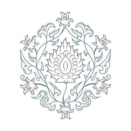 03: 03 Floral pattern line-art, blue Illustration