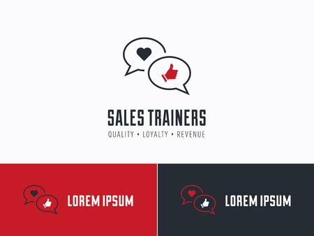 servicio al cliente: Consultor de ventas, instructor de ventas o cliente misterioso logo de la empresa. La satisfacción del cliente, la comunicación y el servicio símbolo de excelencia.