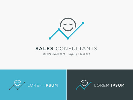 expectations: Sales consultant, sales trainer or mystery shopper company logo. Customer satisfaction and growing revenue chart symbol.