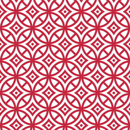 01: 01 Geometric vector seamless pattern. Modern stylish texture. Repeating geometric circles with dotts and rhombus, red. Stock Photo