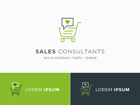 proposition: Sales consultant, sales trainer or mystery shopper company logo. Customer satisfaction and sales volume symbol.