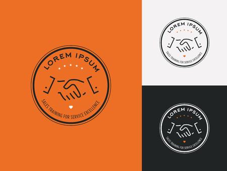 servicio al cliente: Consultor de ventas, instructor de ventas o cliente misterioso logo de la empresa. La satisfacción del cliente, la asociación y el servicio símbolo de excelencia.