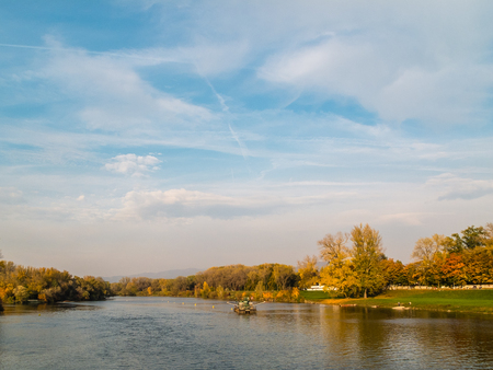 River Vah in the wellness town of Piestany Stock Photo