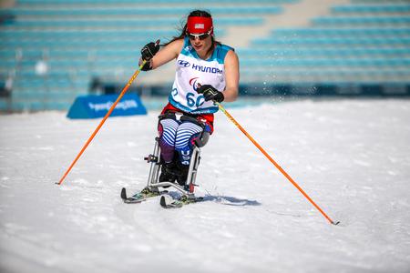 Pyeongchang 2018 March 14th Biathlon center - in Cross-Country Skiing - sittings athletes Redakční