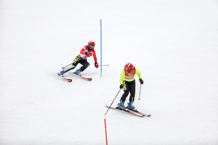 2018 March 18th Peyongchang 2018 Paralympic games in South Korea. Slalom visually impaired athletes