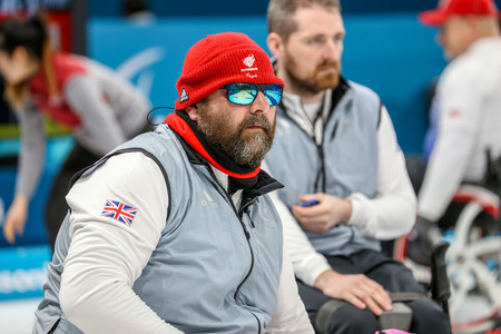2018 March 13th. Peyongchang 2018 Paralympic games in South Korea. Wheelchair curling session. Team GB