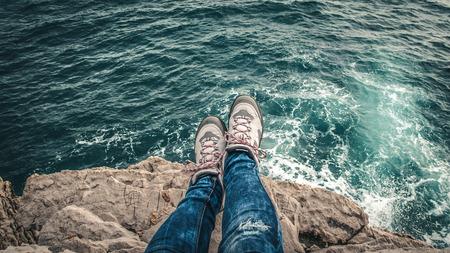 adventurers: Adventurer`s legs Stock Photo