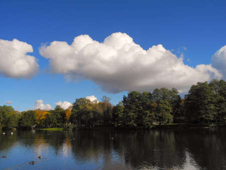 Sight of Mras Pond in autumn. The Mras Pond is located in Riga, the capital of Latvia photo