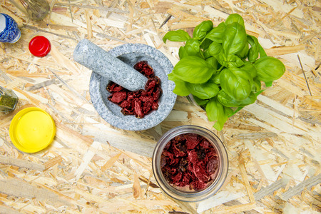 Dried tomato and basil Stock Photo