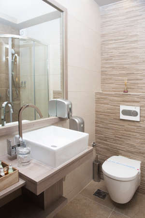 Modern bathroom interior with sink and toilet bowl