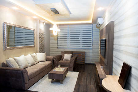 Cozy modern living room with smart appliances