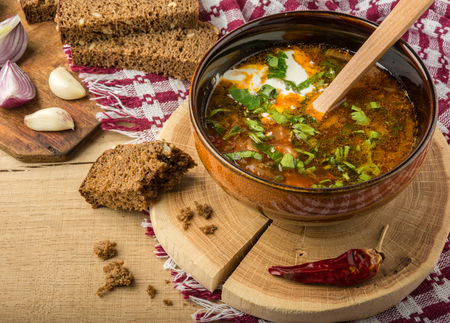 Tasty and nutritious borsch-soup with meat, potatoes, cabbage, tomatoes, beans, sour cream, parsley, onion, garlic, dark bread in a clay plate on a wooden tray and wooden table. Stock Photo