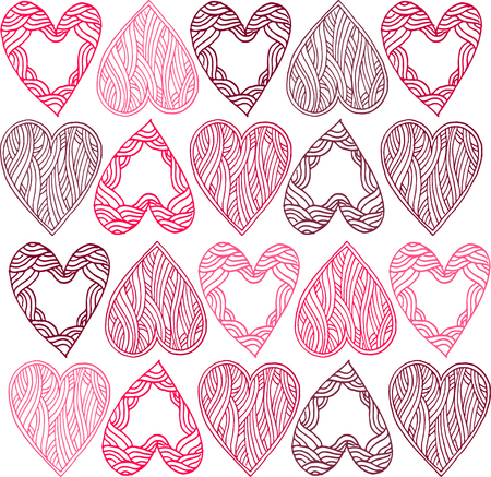 greeting stylized: Greeting card or pattern for wedding or Valentines Day with stylized hearts.