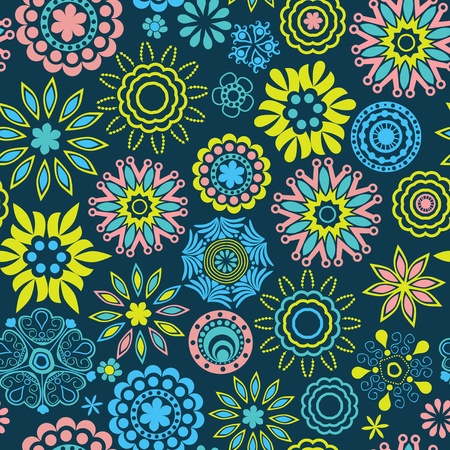 Ornate floral seamless texture, endless pattern with flowers looks like retro snowflakes or snowfall. Seamless pattern can be used for wallpaper, pattern fills, web page background, surface textures. Vector