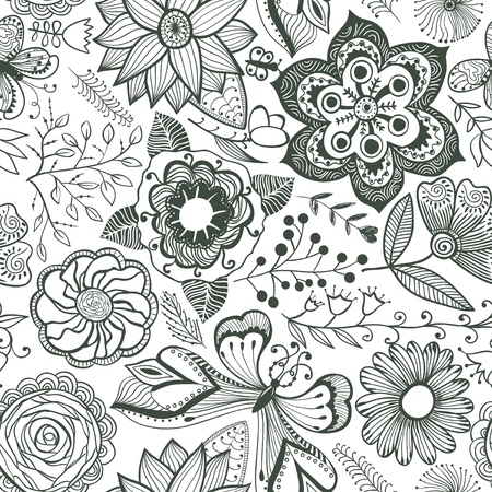 Floral seamless pattern, endless texture with flowers. Vector background for textile design. Stock Vector - 11585994